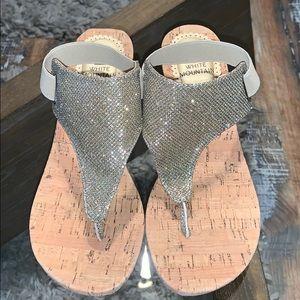 White Mountain cork wedge sandals